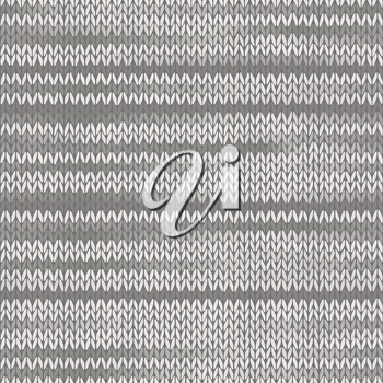 Style Seamless Knitted Melange Pattern. White Grey Color Vector Illustration