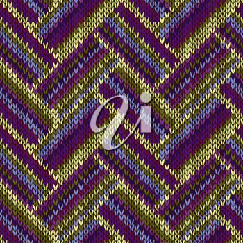 Seamless Knitted Pattern. Blue Violet Green Color Swatch