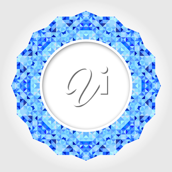 Abstract White Round Frame with Blue Digital Border