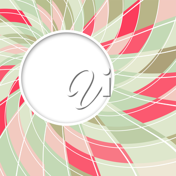 Abstract white round shape with digital red and green pattern. Vector background