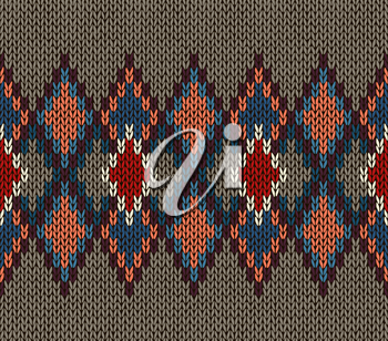 Seamless Knitted Pattern. Red Blue White Brown Color. Fashionable youth modern style.