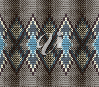 Seamless Knitted Pattern. Blue White Brown Color. Fashionable youth modern style.