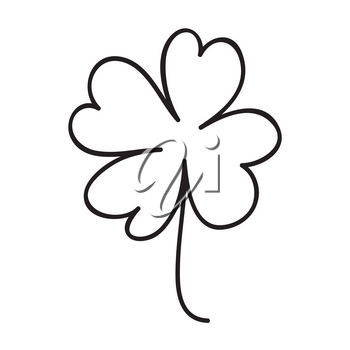 Saint patrick clover leaf, Continuous line art vector illustration.