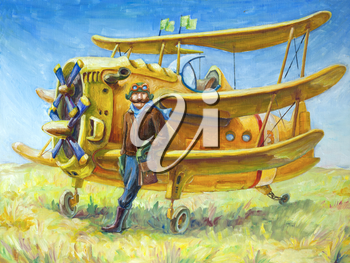 Royalty Free Clipart Image of a Pilot and a Plane