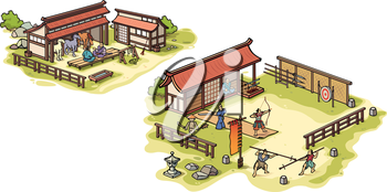 There are isolated Japanese traditional medieval samurai training camp and the stables.