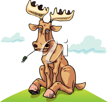 Perplexing moose is sitting on the green lawn.
