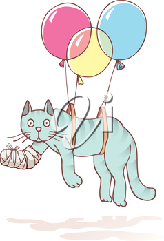 The injured cat with the damaged paw in a bandage is flying with air balloons.Editable vector EPS v9.0