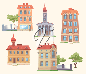 Royalty Free Clipart Image of Five Buildings