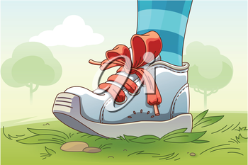 The child's leg wearing the small sneaker with a red lacing is standing on the grass.