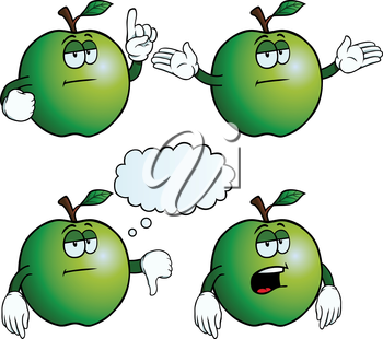 Royalty Free Clipart Image of Bored Apples