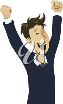Royalty Free Clipart Image of an Excited Male