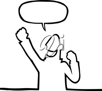 Royalty Free Clipart Image of a Person Cheering