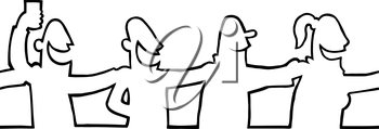 Royalty Free Clipart Image of People Dancing in a line