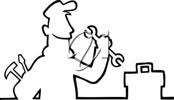 Royalty Free Clipart Image of a Repairman