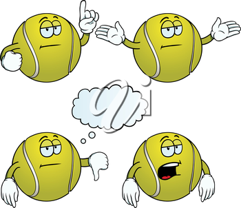 Royalty Free Clipart Image of Bored Tennis Balls