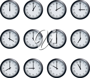 Set of realistic wall clocks with Roman numerals, with the times set at every hour.