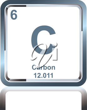 Symbol of chemical element carbon as seen on the Periodic Table of the Elements, including atomic number and atomic weight.