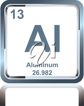 Symbol of chemical element aluminum as seen on the Periodic Table of the Elements, including atomic number and atomic weight.