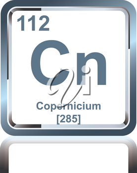 Symbol of chemical element copernicium as seen on the Periodic Table of the Elements, including atomic number and atomic weight.