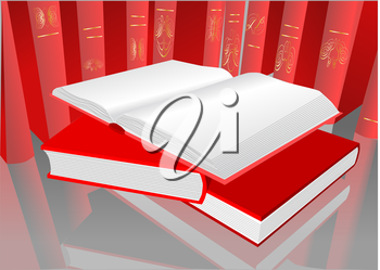 Royalty Free Clipart Image of Red Books