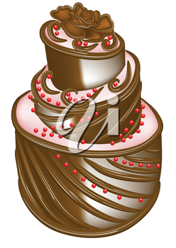 Royalty Free Clipart Image of a Fancy Cake
