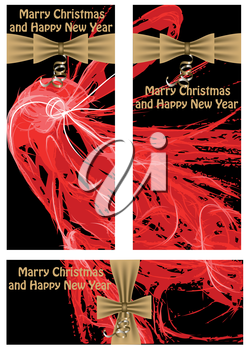 Christmas abstract banners. 3  dark Christmas banners isolated on white background