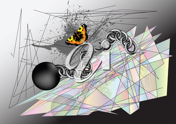 Butterfly tearing chain. abstract environment multicolor background