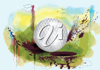 golf course. golf ball on abstract grunge background