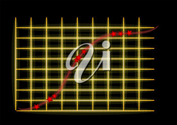 increase. abstract graph with yellow light and strar