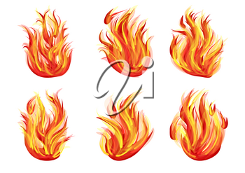 set of flames isolated on white background