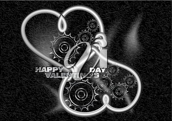happy valentines day. two metallic hearts with gears