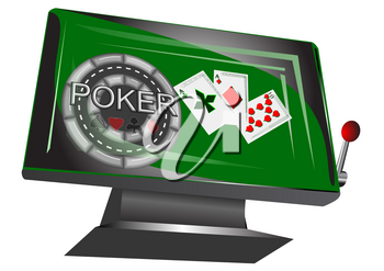 online gambling symbol, monitor with play card and chip