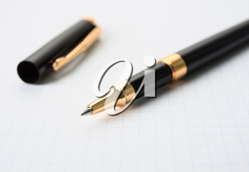 Royalty Free Photo of a Pen on Graph Paper