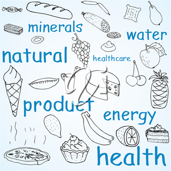 Royalty Free Clipart Image of Food Products and Words