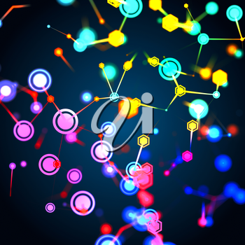 3D illustration of molecular structure and communication concept on dark background. Connected colorfully lines with dots. Concept of the science, connection, chemistry, biology, medicine, technology.