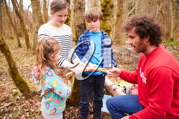 Adults And Children Examining Animal Horn At Activity Centre