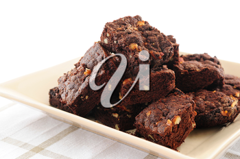 Homemade chocolate brownies served on a plate