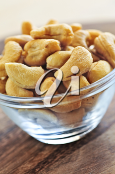 Close up of cashew nuts in glass bowl