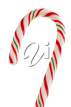 Closeup of striped candy cane isolated on white