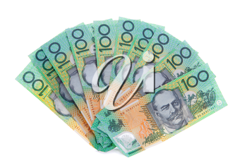 A fan of ten Australian one hundred 100 dollar note bills, cash, money totalling $1000.   Australia was the first country to have an entire note currency made of plastic, which is extremely difficult