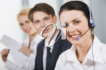 Friendly customer support team in an office environment