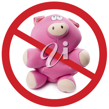 Photo of pink soft toy pig with sign appealing to stop new virus