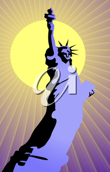 Vector illustration of liberty statue on the background of sun