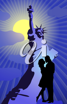Vector illustration of silhouette of couple kissing on the background of Statue of Liberty