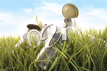 Royalty Free Clipart Image of Empty Cans in the Grass