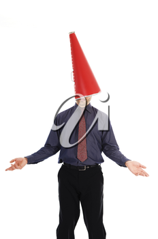 businessman with a red cone megaphone on head