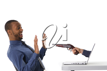 businessman getting a hold up from a laptop