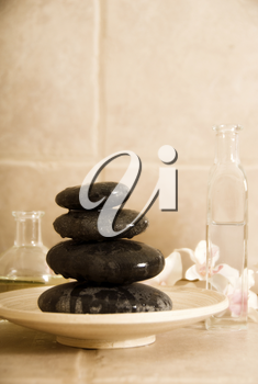 dayspa products like stone for massage and oils