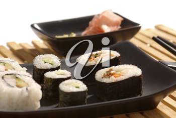sushi rools on a plate