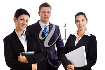 Team of happy successful business people smiling, isolated on white.